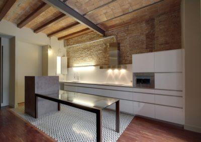 Cocina reformada, pavimento mosaico hidráulico